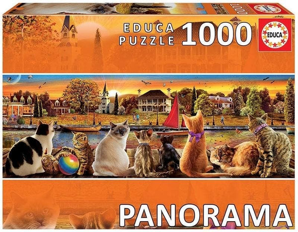 Puzle, 1000 - CATS ON THE QUAY - PANORAMA