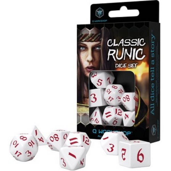 Q Workshop Classic Runic White & Red Dice Set