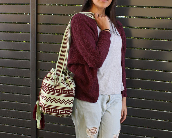 malambo mint and maroon handwoven wayuu mochila bag with traditional ethnic geo pattern