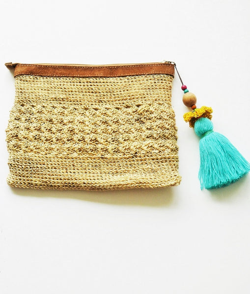 WAYUU TASSEL BAG - NATURAL CLUTCH