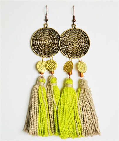 tassel earrings chartreuse