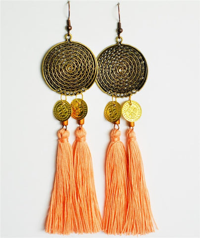 tassel earrings blush