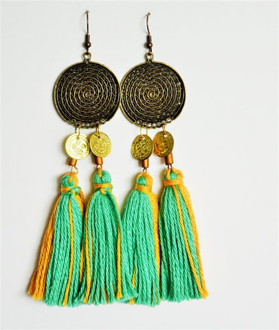 tassel earrings mint