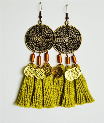 tassel earrings green