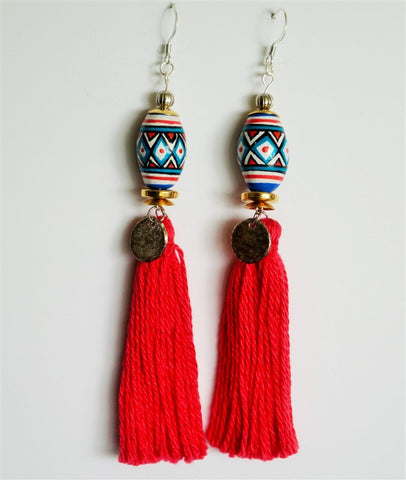 TASSEL EARRINGS RED