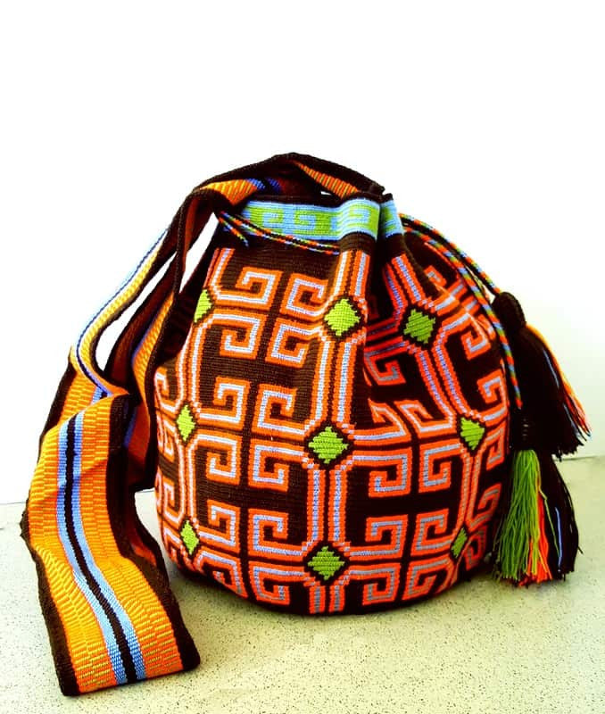 wayuu mochila bag brown orange green