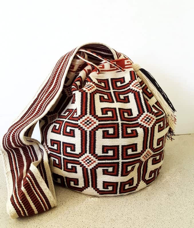 neutral wayuu mochila bag