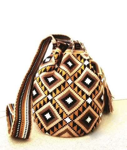 wayuu mochila bag earthy brown