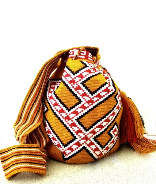 Wayuu mochila bag malambo red and rust
