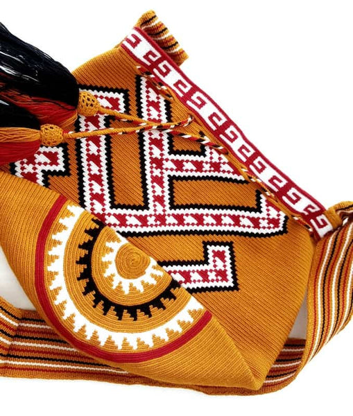 Wayuu mochila bag malambo red white and rust