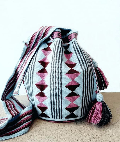 neutral blue wayuu mochila bag