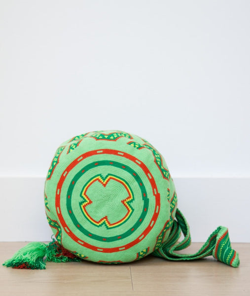 Wayuu mochila bag malambo light green red