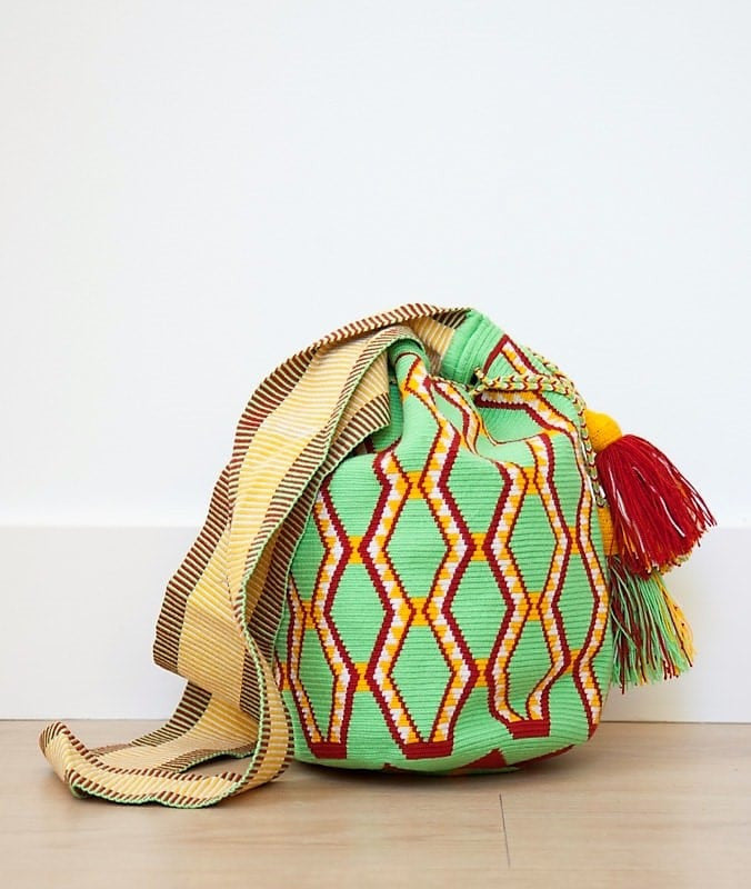 Wayuu mochila bag malambo green and rust