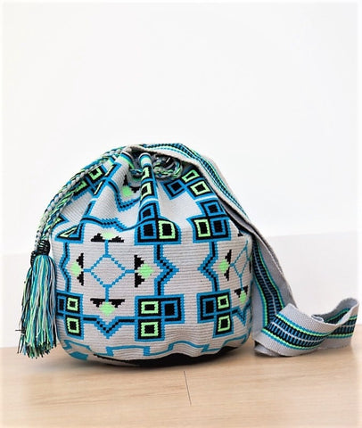 wayuu mochilas bags green blue grey