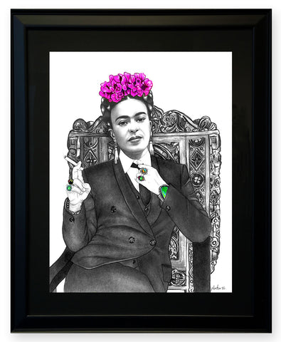 'Visiting w/Frida' - (Framed Print)