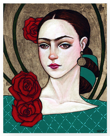 'Portrait of the Young Artist (Frida) w/Roses'