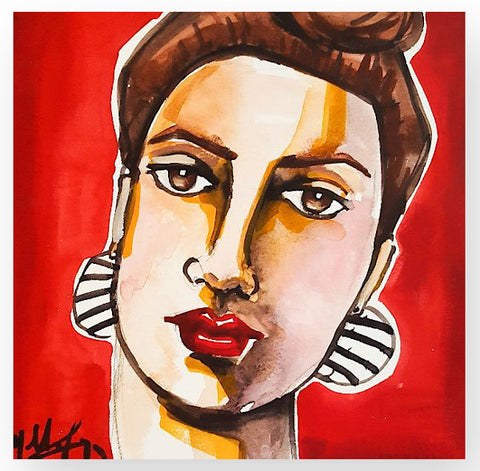'Portrait w/Striped Earrings'