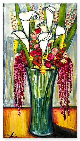'Still Life Callas and Gladiolas'