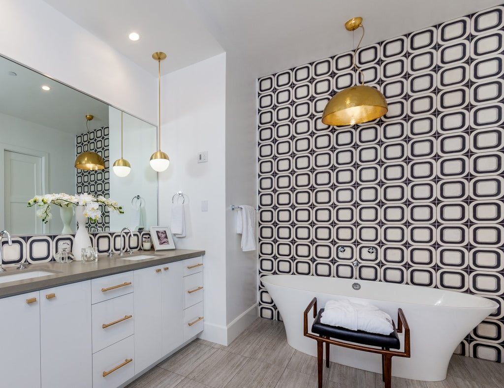 Anthology Interiors' Modda Cement Tiles in the Bathroom