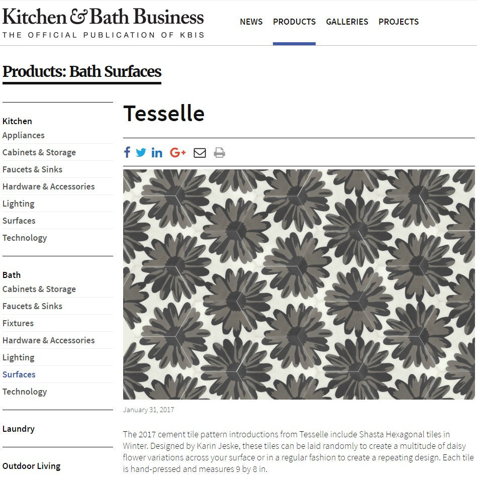 Kitchen and Bath Business Features Shasta Winter Cement Tiles