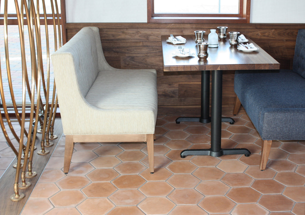 solid hex cement tiles on floor