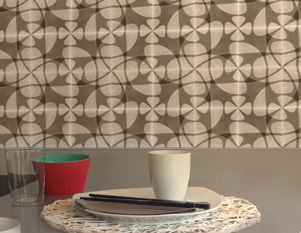 Nature's Net cement tiles on a kitchen wall