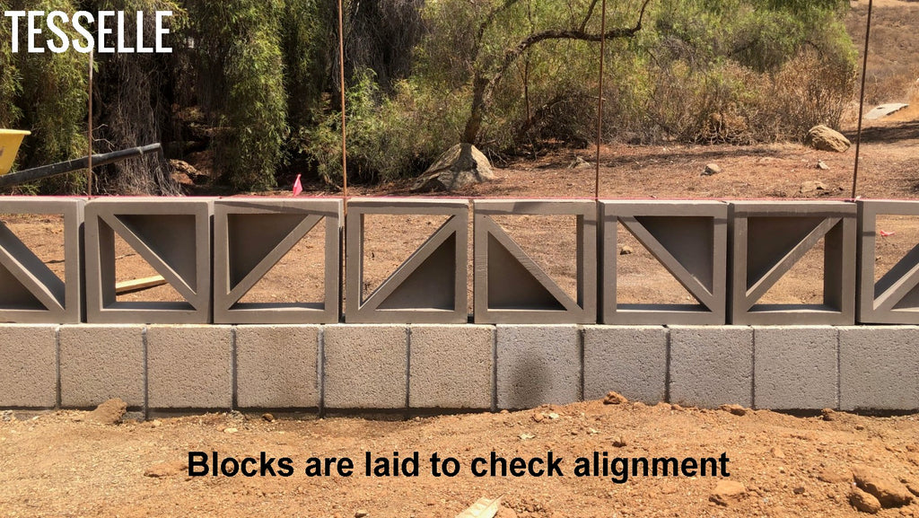 Breeze Blocks are dry laid to check alignment