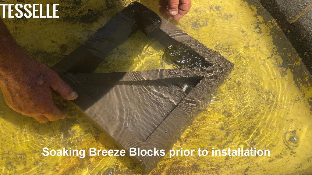 Soaking Tesselle Breeze Block in Water Prior to Installation