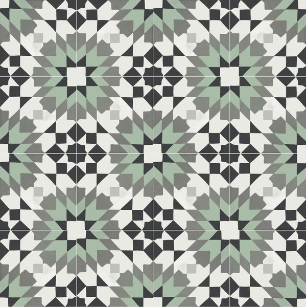 "Andalusia Meadow 8"" Square Cement Tile 1"