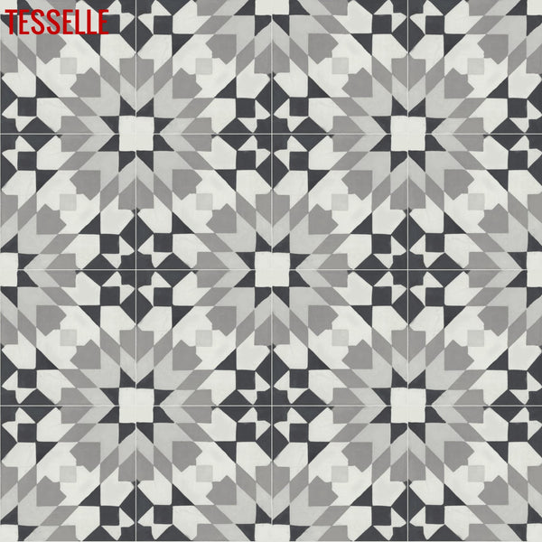 "Andalusia Night 8"" Square Cement Tile"