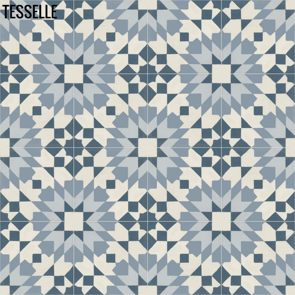 "Andalusia Sky 8"" Square Cement Tile 4X4"
