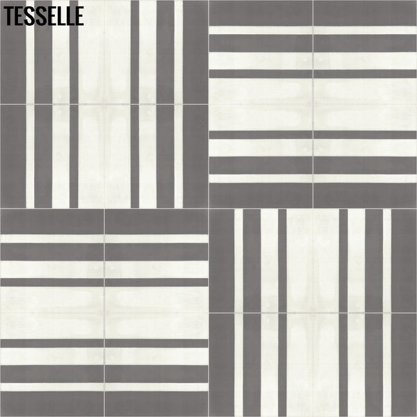 "Barcode Shadow 9x8"" Hexagonal Cement Tile Layout 1"