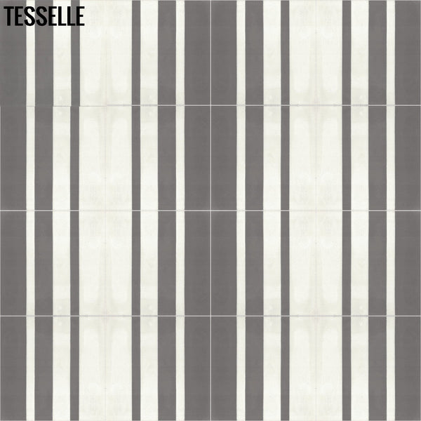 "Barcode Shadow 9x8"" Hexagonal Cement Tile Layout 2"