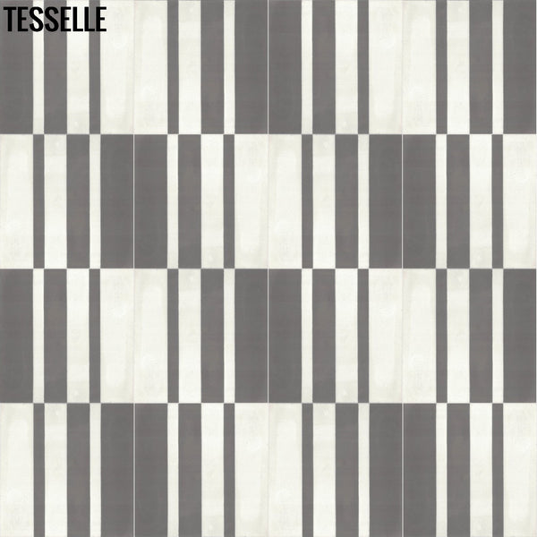 "Barcode Shadow 9x8"" Hexagonal Cement Tile Layout 3"