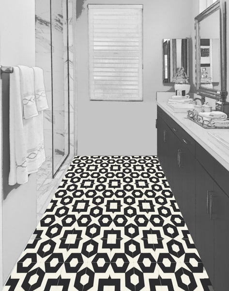 "Dekko 8"" Square Cement Tile - Carrera Bathroom Floor"