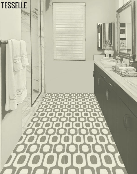 "Ipanema Silva 8"" Square Cement Tile Bath Floor"