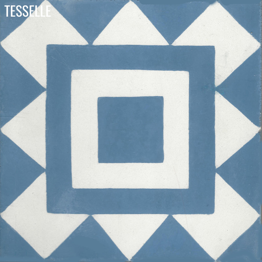 "Bolton Cobalt 8"" Square Cement Tile"
