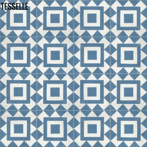 "Bolton Cobalt 8"" Square Cement Tile 1"