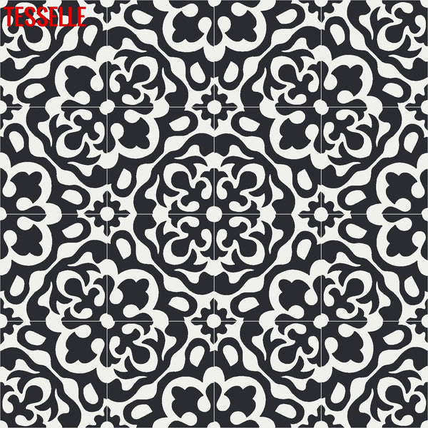 "Calais Coal 8"" Square Cement Tile 