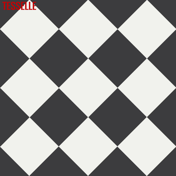 "Checkerboard Pattern Made with 8""x8"" Onyx and Cotton Cement Tiles"