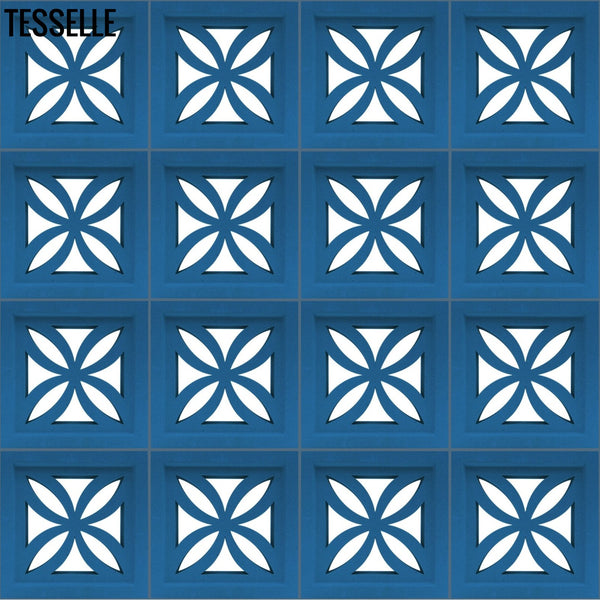 "Clover River Blue 7.5"" Cement Breeze Block Layout"