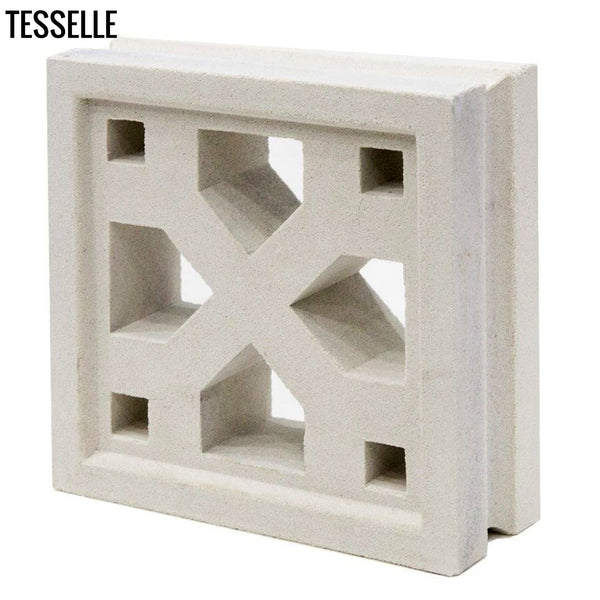 "Crossing Lily White 7.5"" Cement Breeze Block Angle"