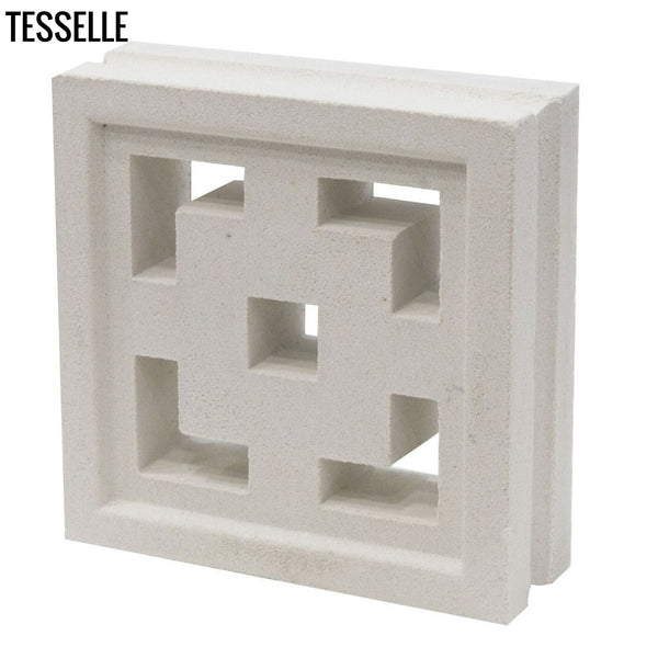 "Crossroads Lily White 7.5"" Cement Breeze Block Angle"
