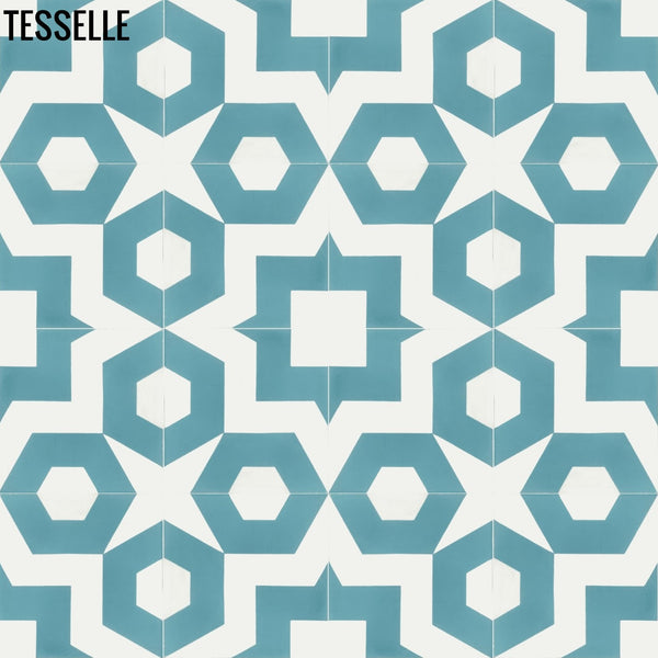 "Dekko Aquamarine 8"" Square Cement Tile"
