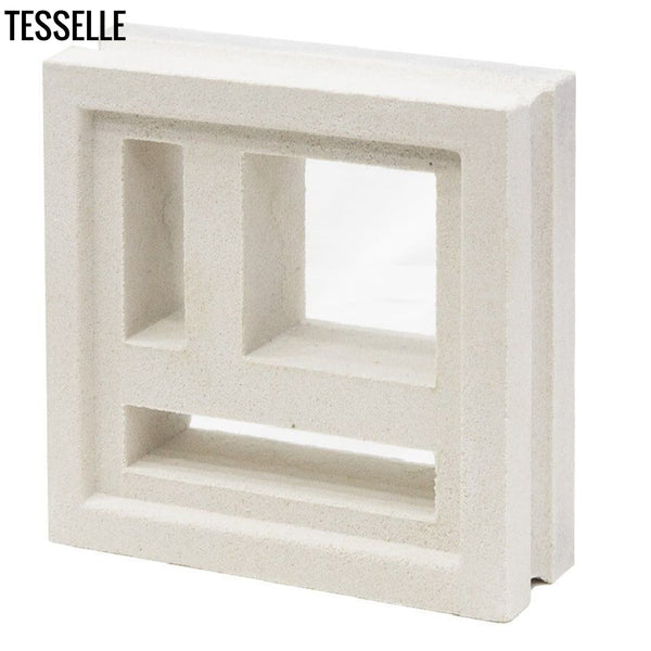 "Divisia Lily White 7.5"" Cement Breeze Block angle"
