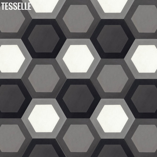 "Honeycomb Boulder, Flint, Obsidian 9x8"" Hexagonal Cement Tile"