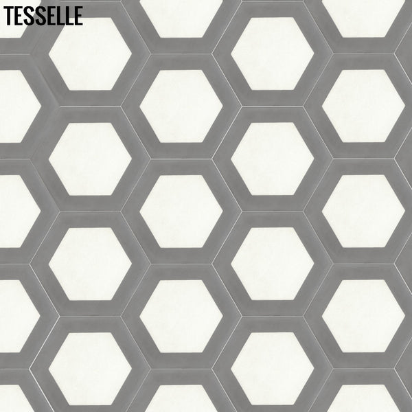 "Honeycomb Boulder 9x8"" Hexagonal Cement Tile 32"""