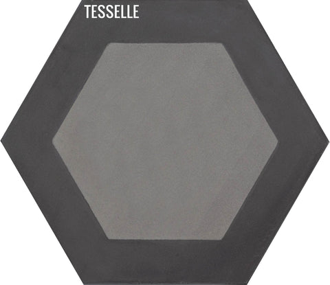 "Honeycomb Flint 9x8"" Hexagonal Cement Tile"