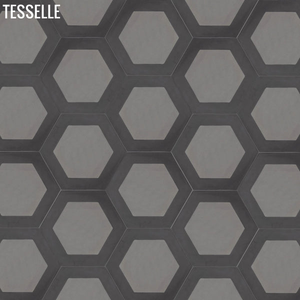 "Honeycomb Flint 9x8"" Hexagonal Cement Tile 32"""