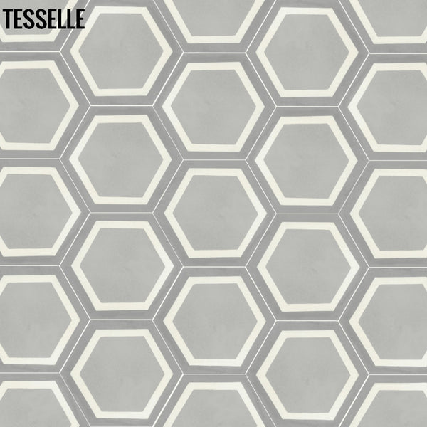 "La Cella Cloudi 9x8"" Hexagonal Cement Tile repeat"
